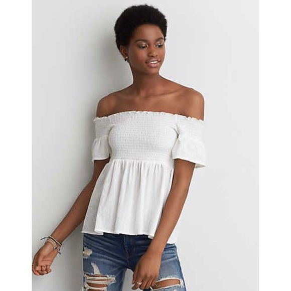 00861d7f11e65f AEO smocked off the shoulder top NWT